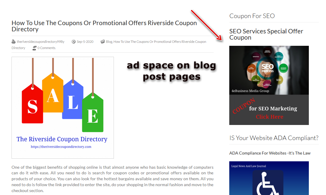 ad space on blog post pages